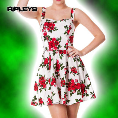 HELL BUNNY White MINI DRESS Summer CANNES Floral Roses All Sizes